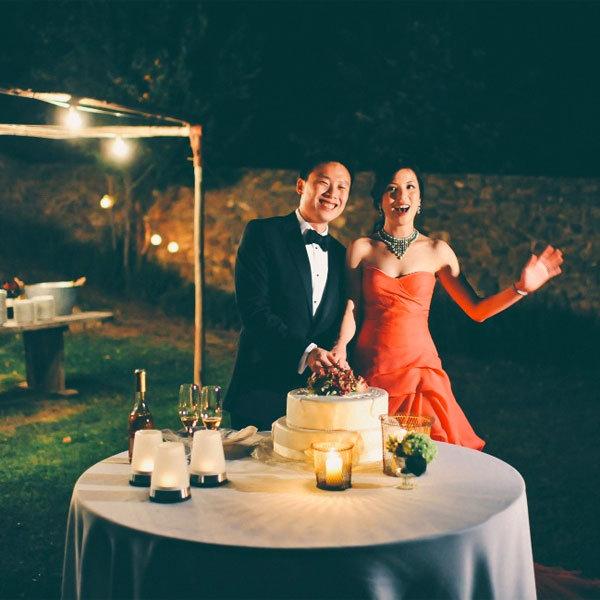 red wedding reception dress