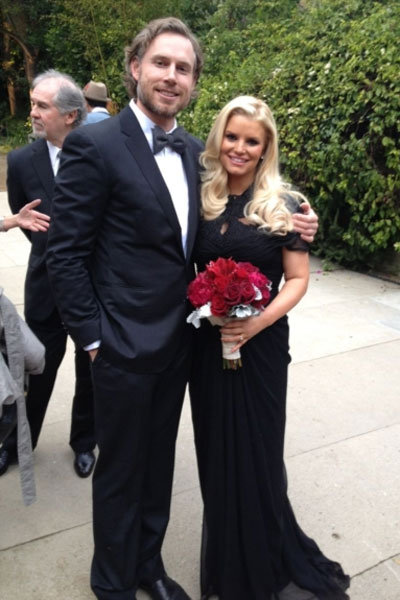 jessica simpson at cacee cobb and donald faison wedding