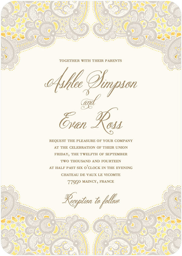 ashlee simpson evan ross wedding invitation style