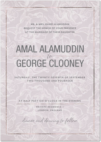 george clooney amal alamuddin wedding invitation