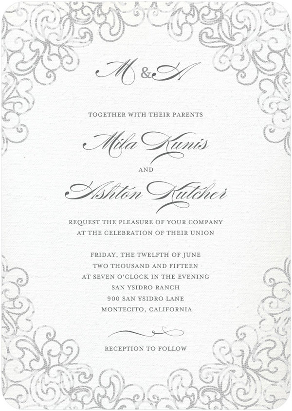 mila kunis ashton kutcher wedding invitation