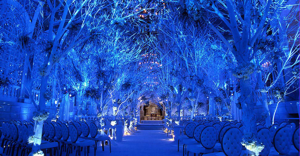 winter wonderland wedding ceremony aisle decor