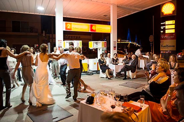 gas station wedding