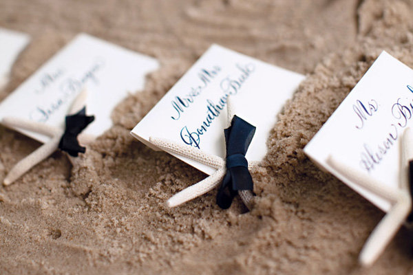 starfish beach wedding escort cards