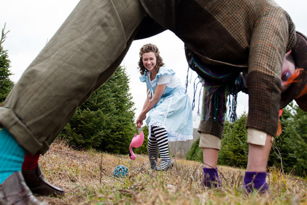 alice in wonderland disney themed engagement photos
