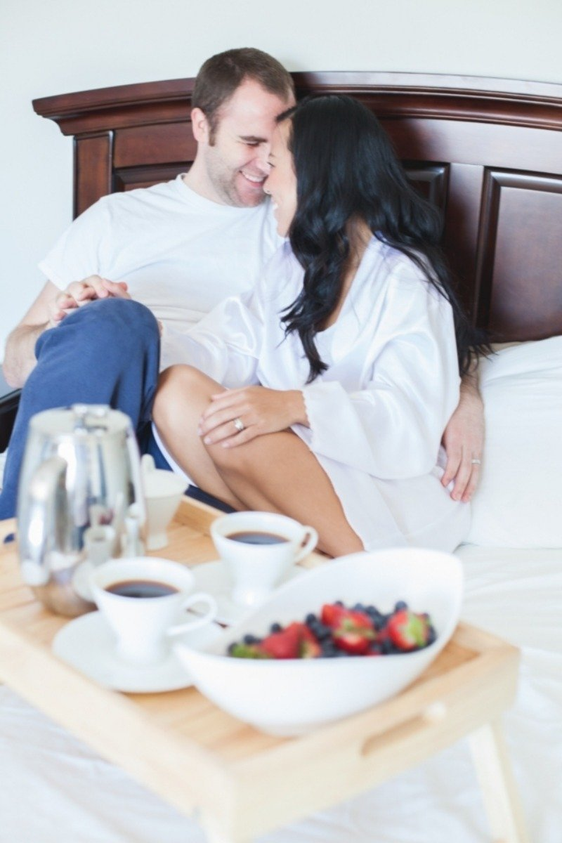 breakfast in bed engagement photos