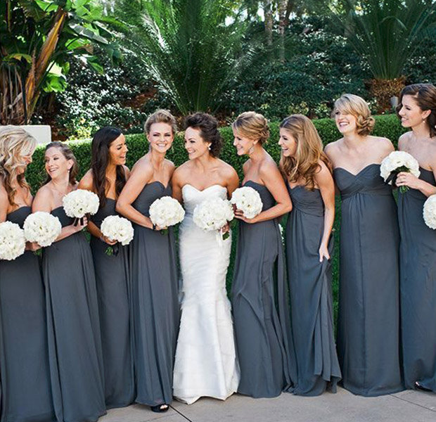 The gallery for navy blue bridesmaid dresses pink flowers for Fall wedding dress colors