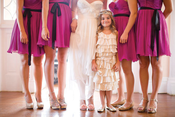 flower girl with bridal party