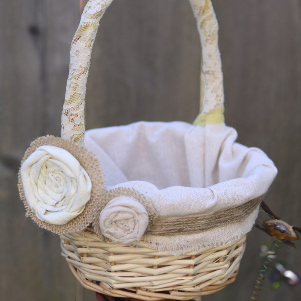 flower girl basket with cotton lining