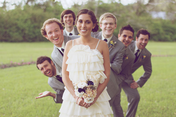 fun wedding photo with groomsmen