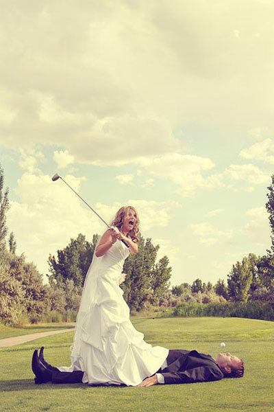 golf wedding photo