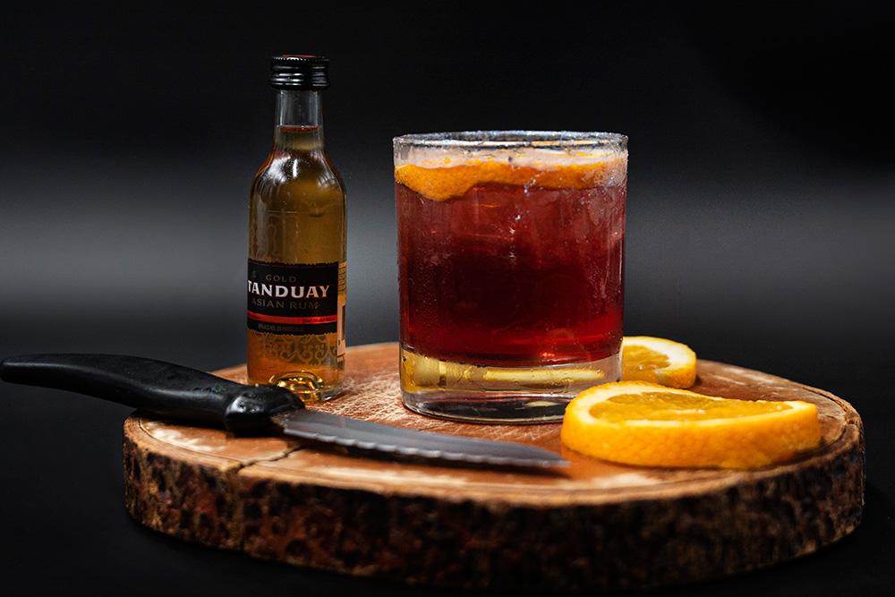 halloween signature cocktail pumpkin rum old fashioned