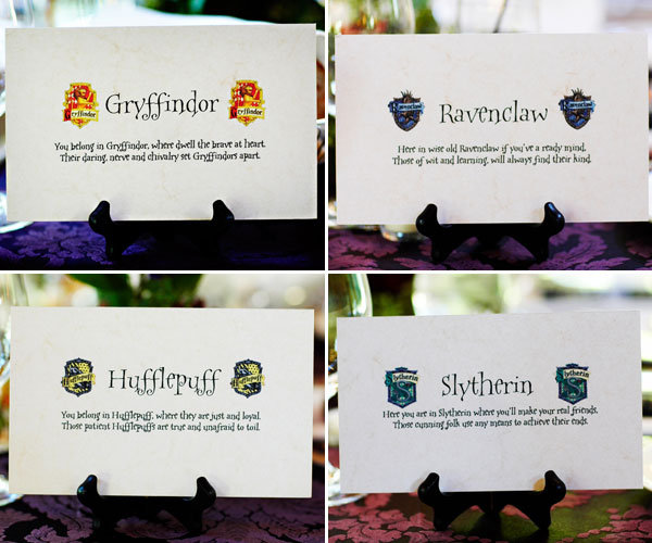 harry potter wedding table signs