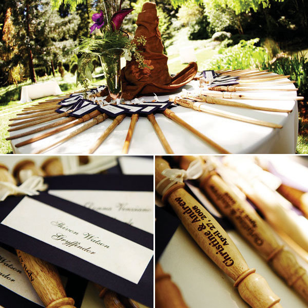 harry potter wedding sorting hat and wands