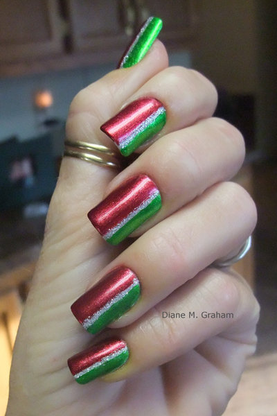red and green sideways french  manicure