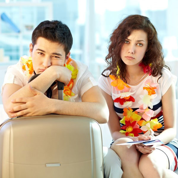 unhappy couple traveling