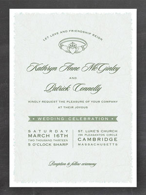 claddagh wedding invitation