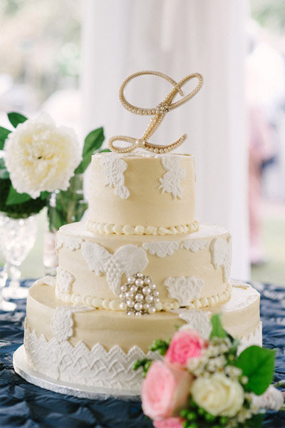 yellow lace wedding cake