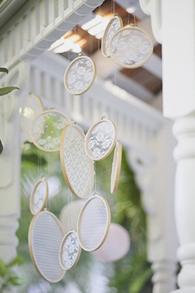 lace sun-catchers wedding decorations
