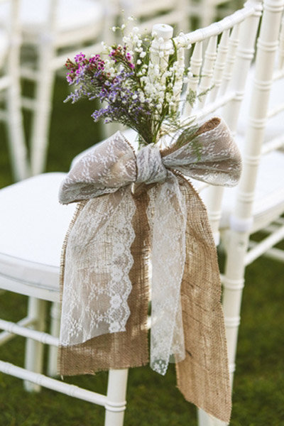 lace burlap flowers aisle decoration