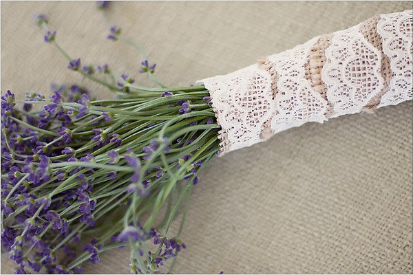 purple flowers wedding bouquet lace rustic