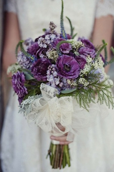 lace bow purple flowers purple wedding bouquet