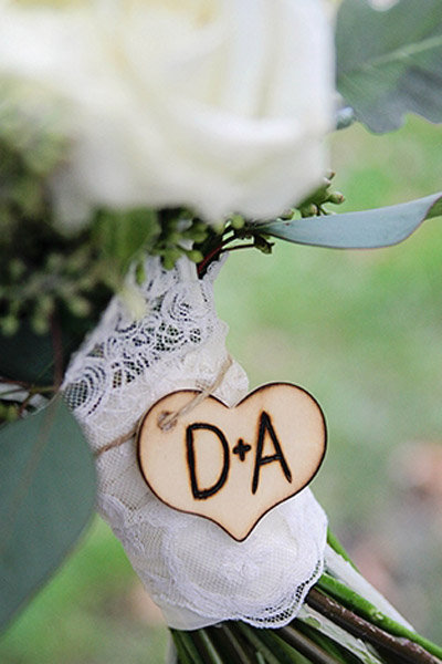 bouquet lace initials wedding