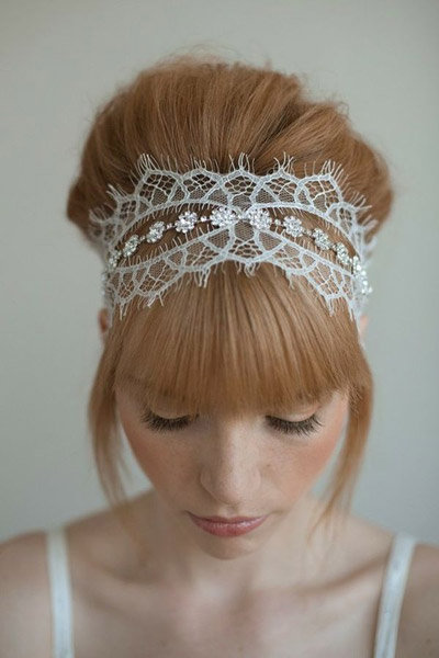 lace and rhinestone headband wedding