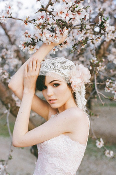 lace hair piece pink flower wedding