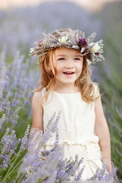 lavender flower girl headband