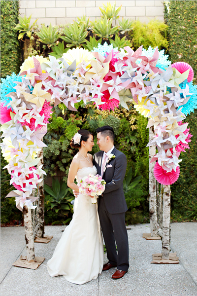 whimsical pinwheel ceremony altar