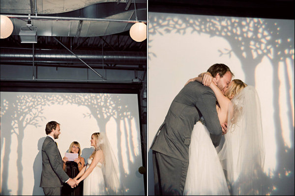 modern wedding with tree backdrop