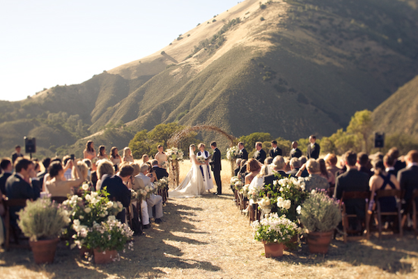wedding ceremony with view of the mountains