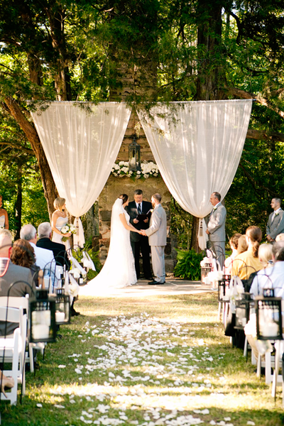 rustic outdoor ceremony backdrop