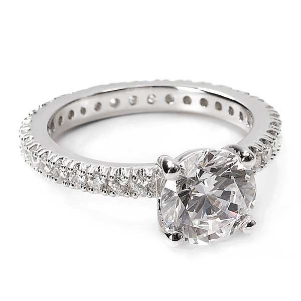 Solitaire Engagement Ring With Pave Band