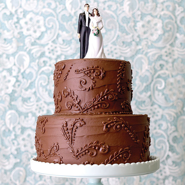 chocolate paisley wedding cake