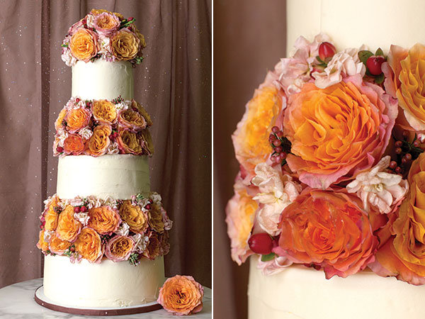 floral pillar wedding cake