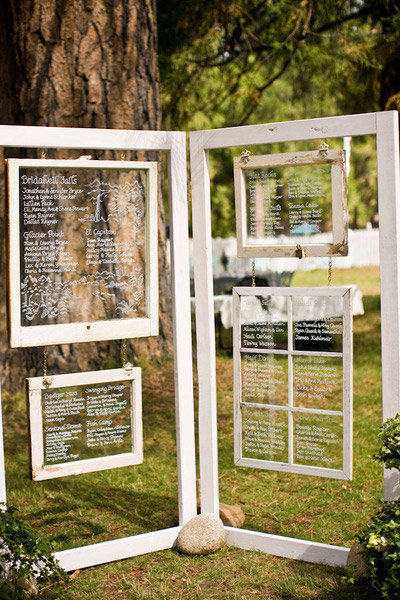 vintage barn windows wedding seating chart