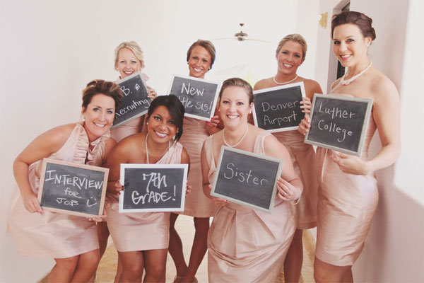 bridesmaids showing how they know the bride