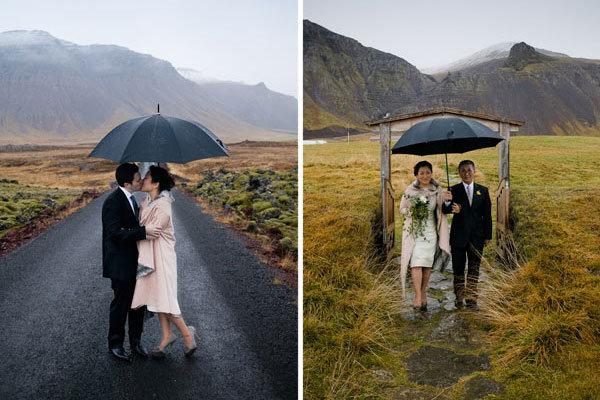 bride with rain jacket