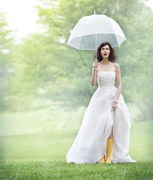 rain boots under wedding gown