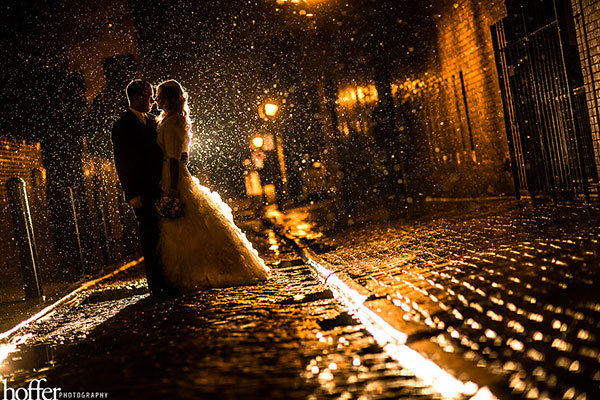 rainy wedding photo