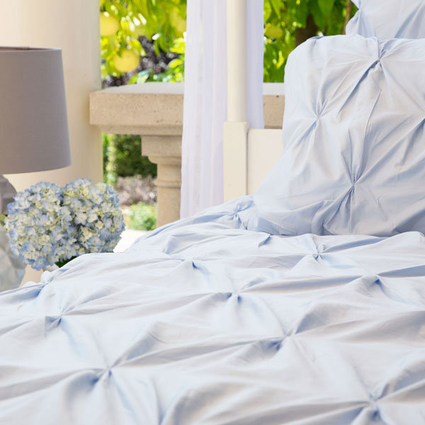 blue pin tuck duvet cover