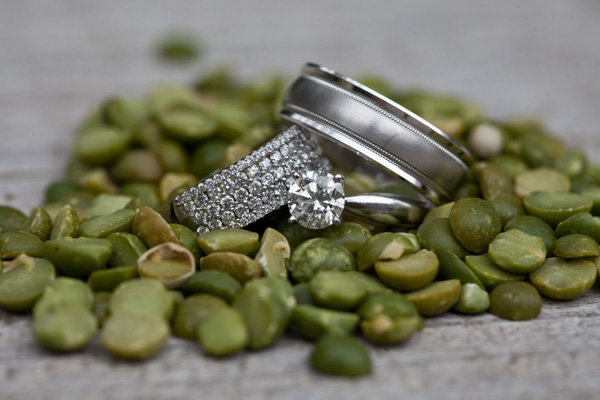 wedding rings with food