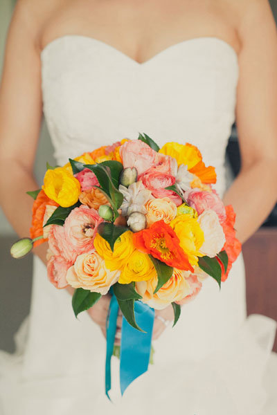 orange and yellow with blue ribbon summer bouquet