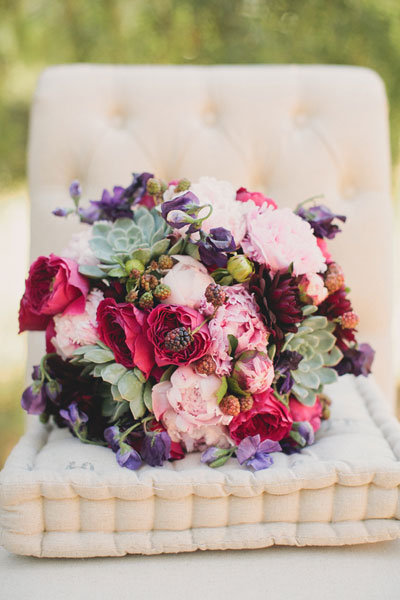 berry bridal bouquet