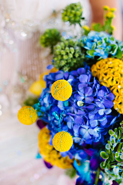 Bright Blue And Yellow Bridal Bouquet