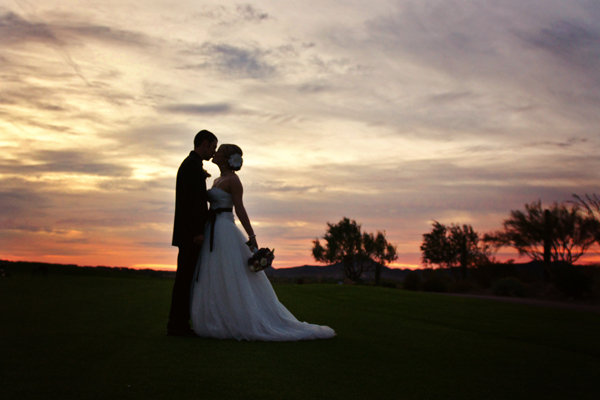 bride groom sunset