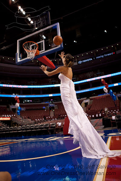 bride shooting basketball