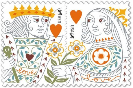king and queen of hearts stamps